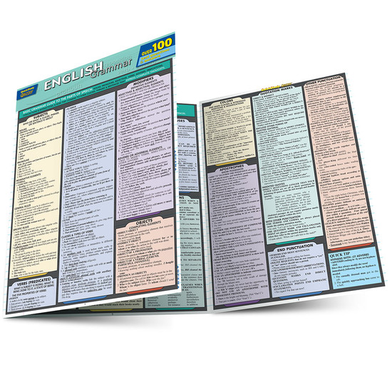 Quick Study QuickStudy English Grammar Quizzer Laminated Study Guide BarCharts Publishing Languages Main Image