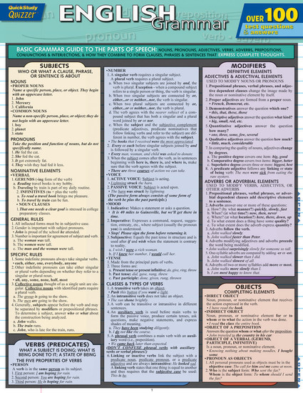 QuickStudy Quick Study English Grammar Quizzer Laminated Study Guide Front Image