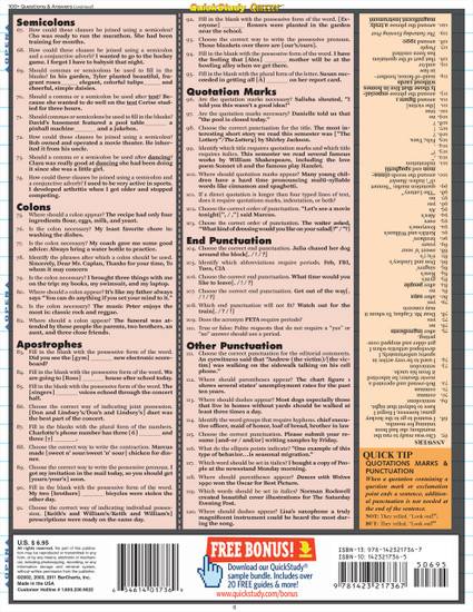 Quick Study QuickStudy English Grammar Quizzer Laminated Study Guide BarCharts Publishing Languages Back Image