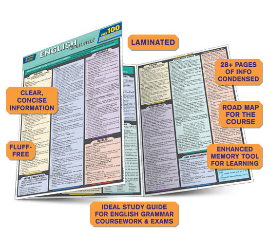 Quick Study QuickStudy English Grammar Quizzer Laminated Study Guide BarCharts Publishing Languages Guide Benefits