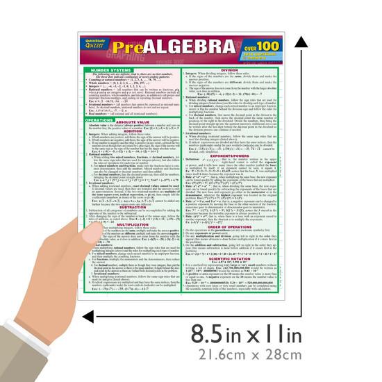 Quick Study QuickStudy Pre-Algebra Quizzer Laminated Study Guide BarCharts Publishing Math Reference Guide Size