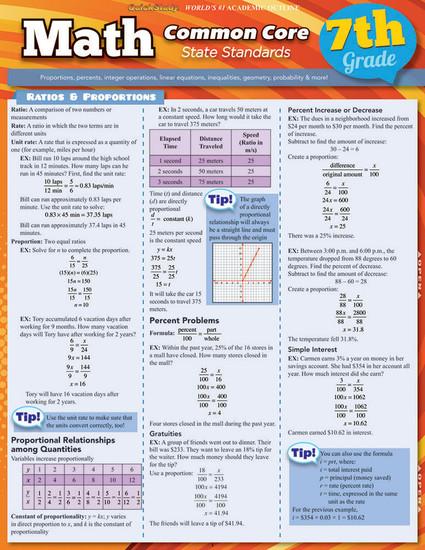 QuickStudy | Math: Common Core 7th Grade Laminated Study Guide