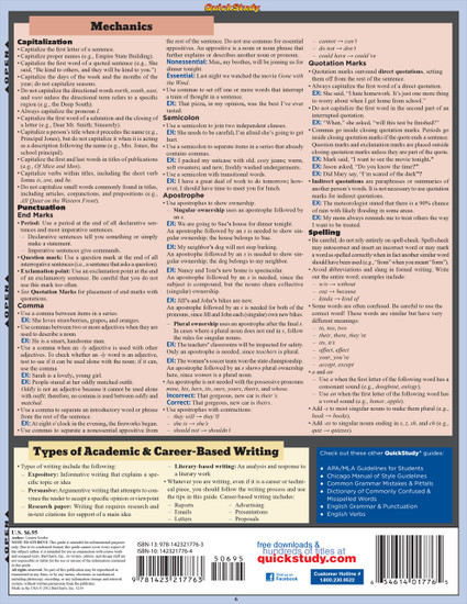 Quick Study QuickStudy Writing Tips & Tricks Laminated Study Guide BarCharts Publishing Reference Back Image