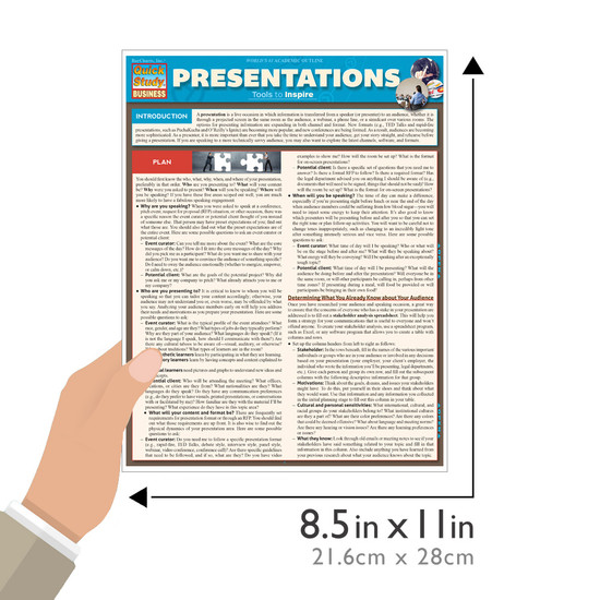 Quick Study QuickStudy Presentations Laminated Reference Guide BarCharts Publishing Business Education Guide Size