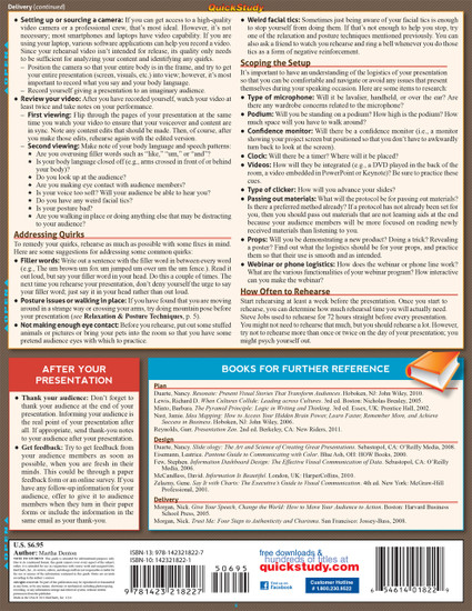Quick Study QuickStudy Presentations Laminated Reference Guide BarCharts Publishing Business Education Guide Back Image