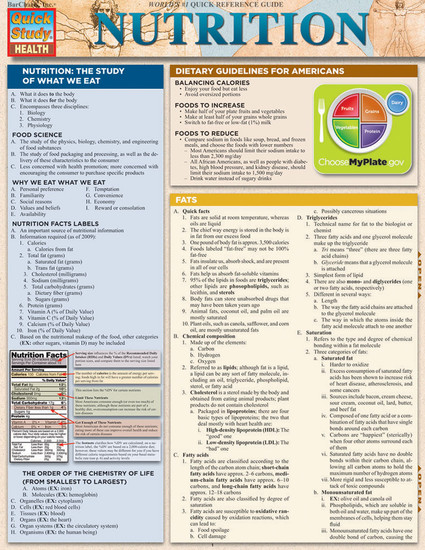 QuickStudy Nutrition Laminated Reference Guide