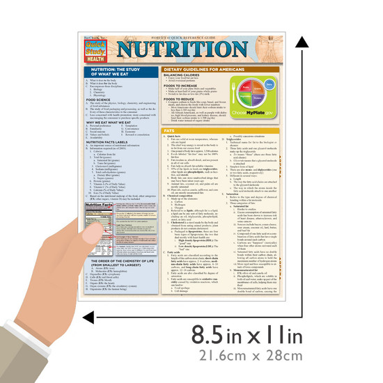 QuickStudy Quick Study Nutrition Laminated Study Guide BarCharts Publishing Health Reference Guide Size