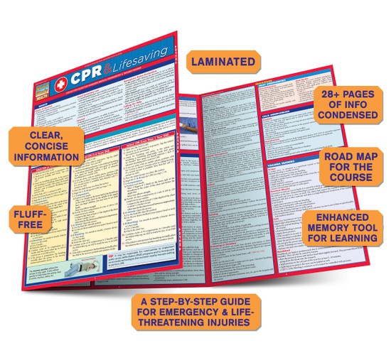 QuickStudy Quick Study CPR Lifesaving Laminated Study Guide BarCharts Publishing Inc Reference Guide Benefits