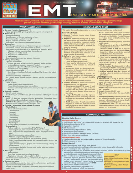 Quick Study QuickStudy EMT - Emergency Medical Technician Laminated Study Guide BarCharts Publishing Cover Image