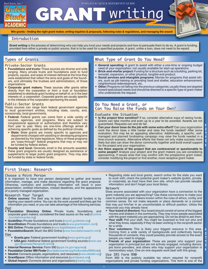 QuickStudy | Grant Writing Laminated Reference Guide