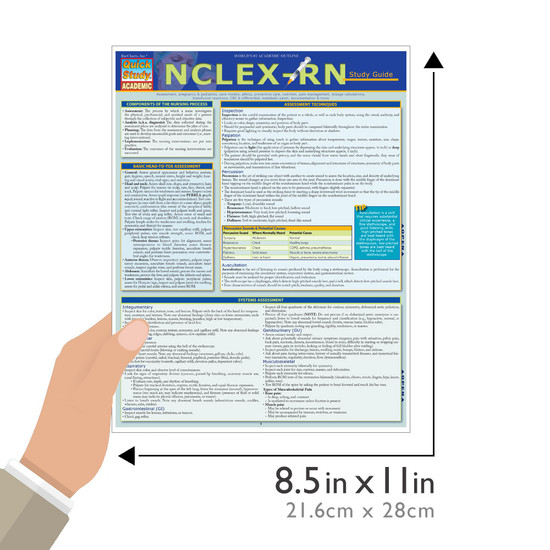 Quick Study QuickStudy NCLEX-RN Laminated Study Guide BarCharts Publishing Medical Reference Guide Size