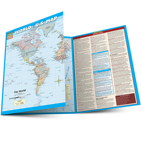 QuickStudy Quick Study World & U.S. Map Laminated Reference Guide BarCharts Academic Main Image