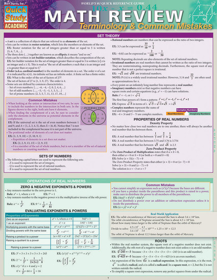 QuickStudy | Math Review: Terminology & Common Mistakes Laminated Study Guide