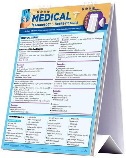 QuickStudy | Medical Terminology & Abbreviations Easel