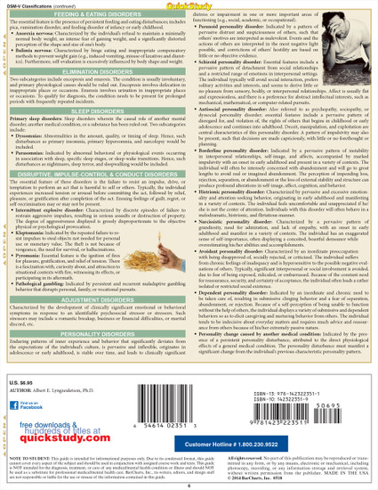 Quick Study QuickStudy Psychology Abnormal Laminated Study Guide BarCharts Publishing Social Science Back Image