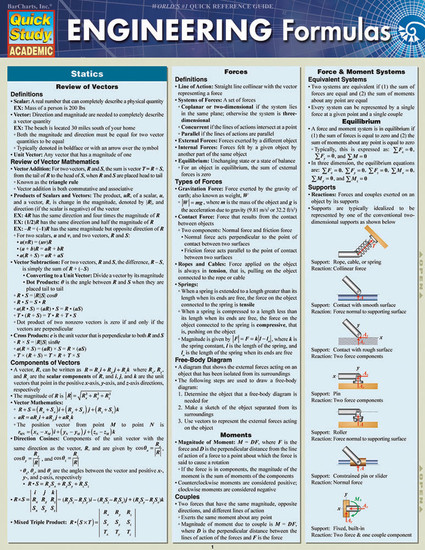 QuickStudy | Engineering Formulas Laminated Study Guide
