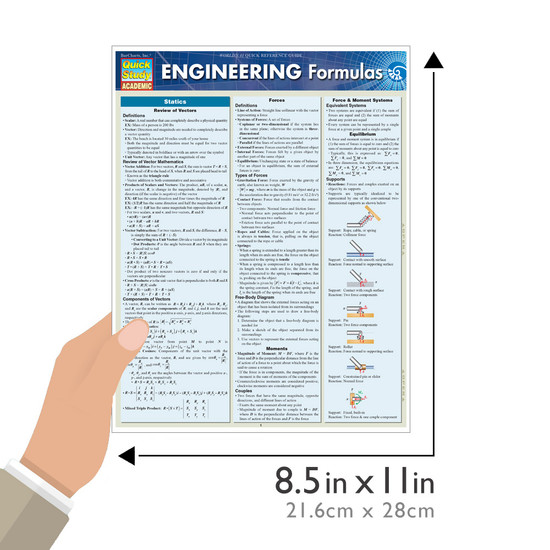 Quick Study QuickStudy Engineering Formulas Laminated Study Guide BarCharts Publishing Mathematic Reference Guide Size