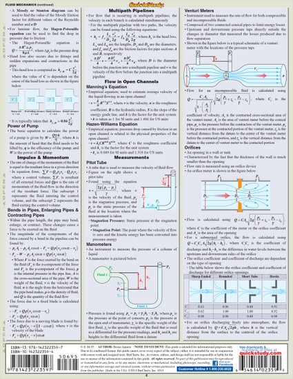 Quick Study QuickStudy Engineering Formulas Laminated Study Guide BarCharts Publishing Mathematic Reference Back Image