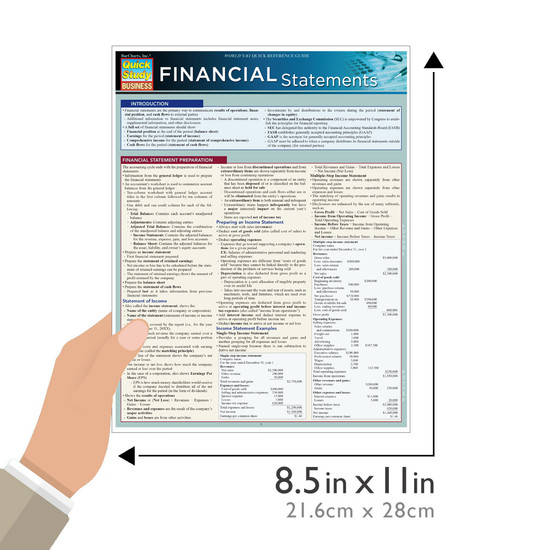 Quick Study QuickStudy Financial Statements Laminated Study Guide BarCharts Publishing Finance Guide Size