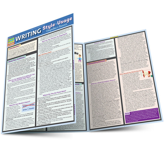 Quick Study QuickStudy Writing Style Usage Laminated Study Guide BarCharts Publishing Language Arts Guide Main Image