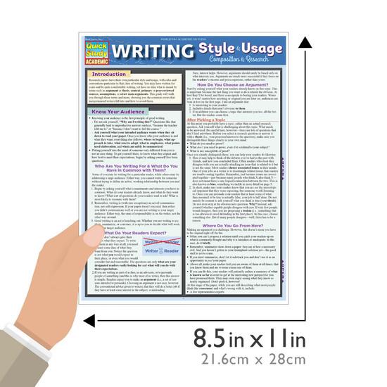 QuickStudy | Writing Style & Usage Guide: Composition & Research Laminated Reference Guide