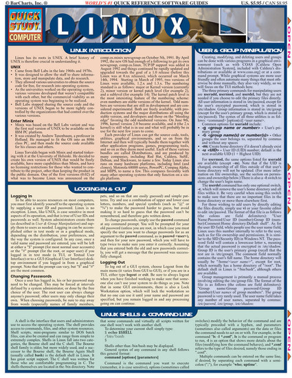 QuickStudy Quick Study Linux Laminated Study Guide BarCharts Publishing Computer Technology Guide Cover Image