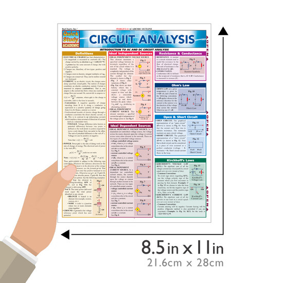 QuickStudy Quick Study Circuit Analysis Laminated Study Guide BarCharts Publishing Engineering Guide Size