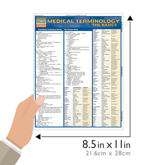 QuickStudy | Medical Terminology: The Basics Laminated Study Guide