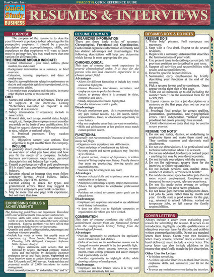 QuickStudy   Resumes & Interviews Laminated Reference Guide