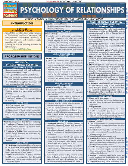 QuickStudy | Psychology Of Relationships Laminated Reference Guide