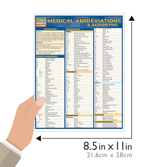 Quick Study QuickStudy Medical Abbreviations Acronyms Laminated Study Guide BarCharts Publishing Size
