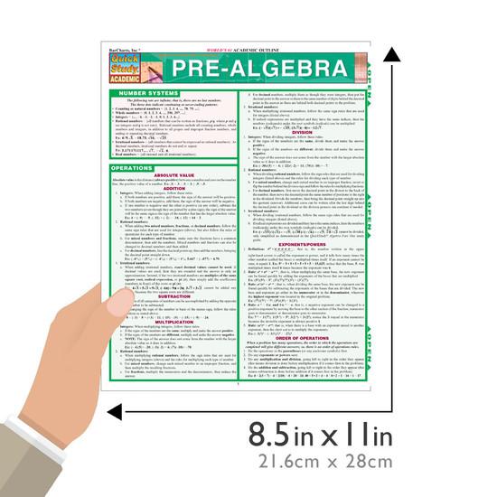 Quick Study QuickStudy Pre-Algebra Laminated Study Guide BarCharts Publishing Pre-Algebra Reference Size