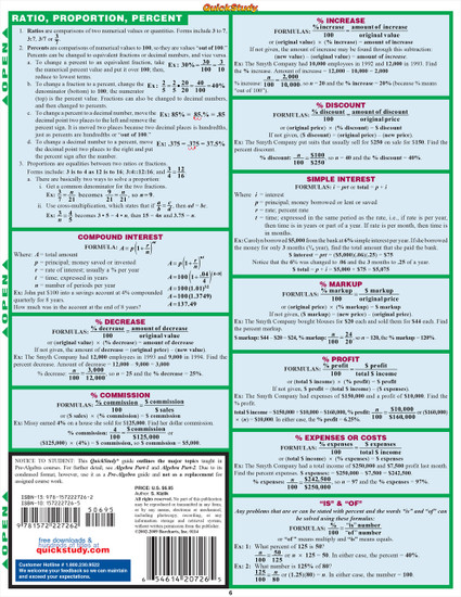 Quick Study QuickStudy Pre-Algebra Laminated Study Guide BarCharts Publishing Pre-Algebra Reference Back Page Image