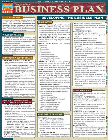 QuickStudy   How To Write A Business Plan Laminated Reference Guide