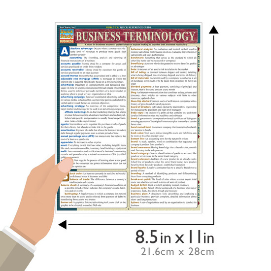 Quick Study QuickStudy Business Terminology Laminated Study Guide BarCharts Publishing Business Reference Guide Size