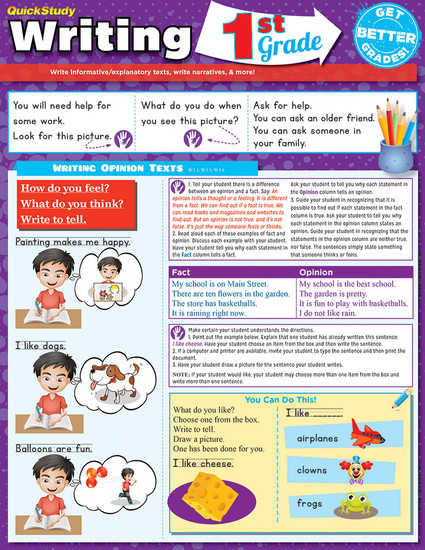 QuickStudy | Writing: 1st Grade Laminated Study Guide