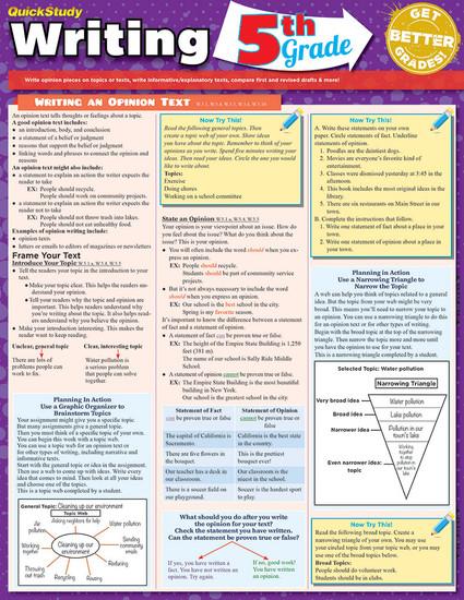 QuickStudy   Writing: 5th Grade Laminated Study Guide