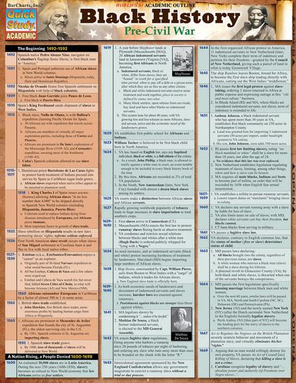QuickStudy   Black History: Pre-Civil War Laminated Study Guide