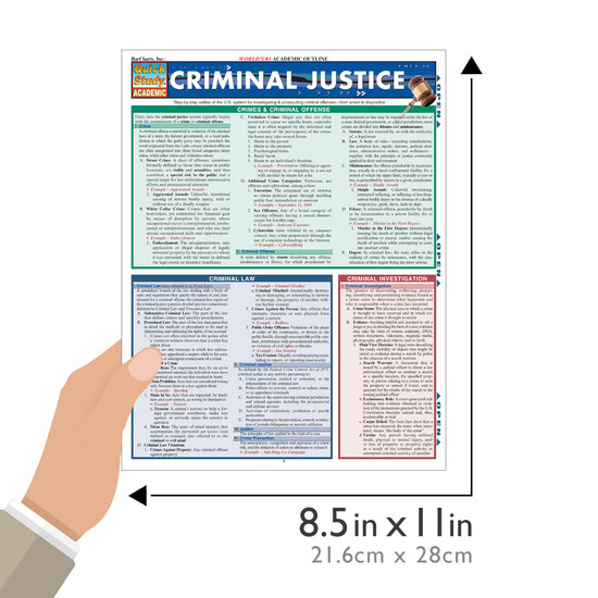 Quick Study QuickStudy Criminal Justice Laminated Reference Guide BarCharts Publishing Study Guide Size