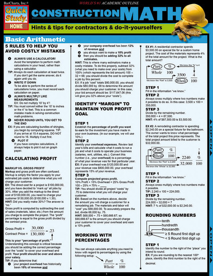QuickStudy | Construction Math Laminated Reference Guide