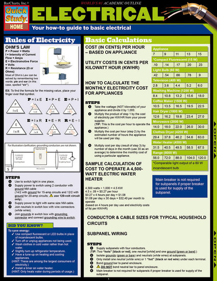 QuickStudy | Electrical Laminated Reference Guide