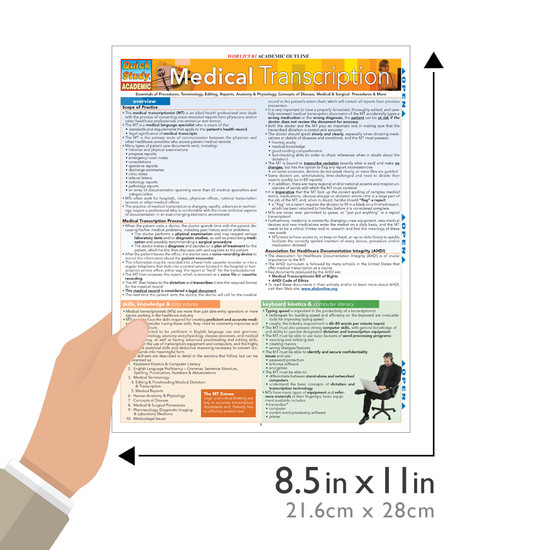 Quick Study QuickStudy Medical Transcription Laminated Reference Guide BarCharts Publishing Medical Guide Size