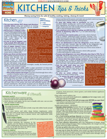 QuickStudy | Kitchen Tips & Tricks Laminated Reference Guide