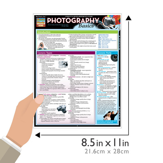 Quick Study QuickStudy Photography Basics Laminated Study Guide BarCharts Publishing Reference Guide Size