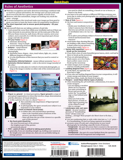 Quick Study QuickStudy Photography Basics Laminated Study Guide BarCharts Publishing Reference Guide Back Image