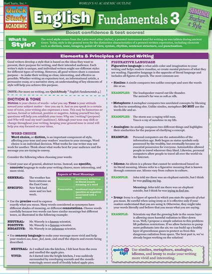 QuickStudy | English Fundamentals 3 Laminated Study Guide