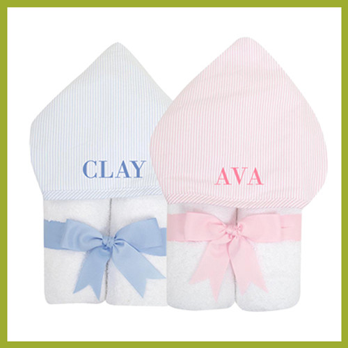 Hooded baby towel personalized with baby's name