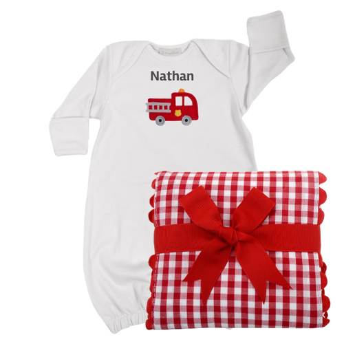 Infant gown with firetruck and coordinating burp cloth with checked red print.