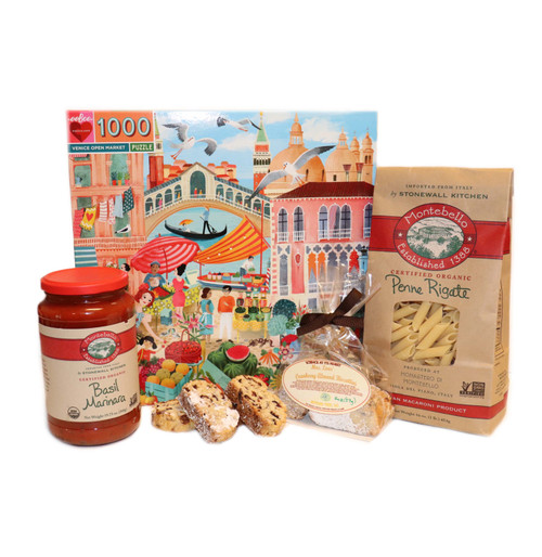 Puzzle of Venice's marketplace and a basket of Italian treats.