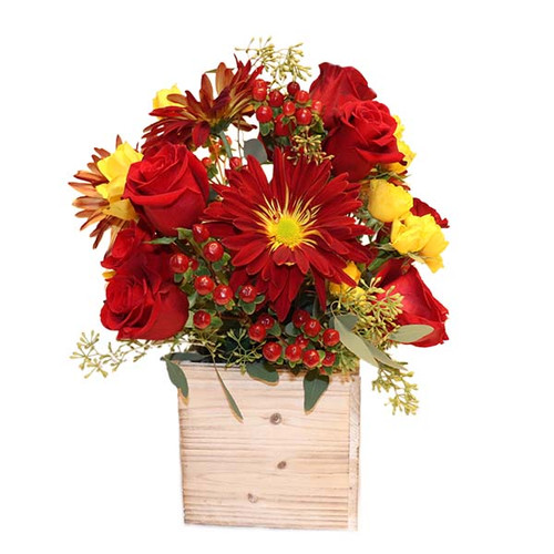 Wooden crate filled with flowers with autumn's colors.